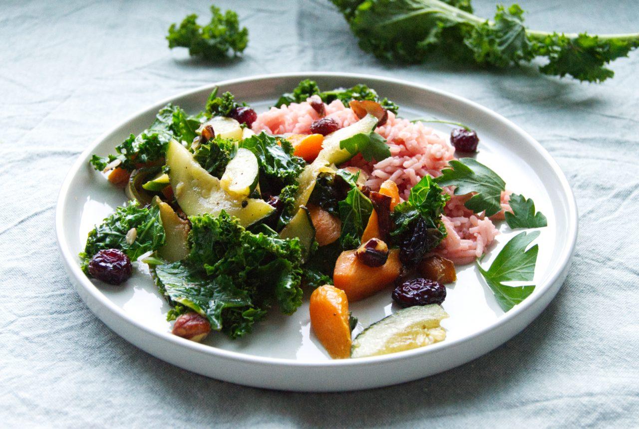 Grünkohl-Gemüse mit Reis