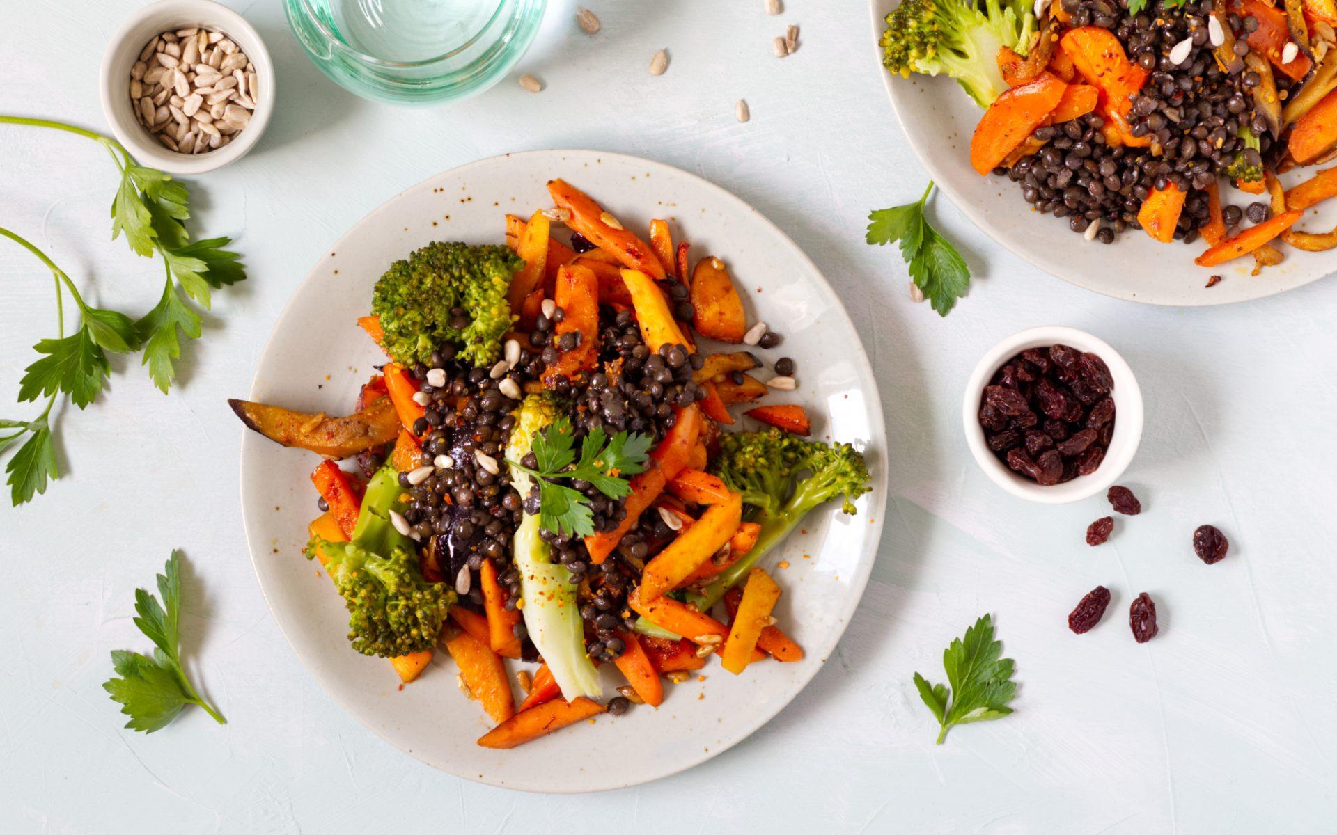 Schnelle Gemüsepfanne mit Linsen