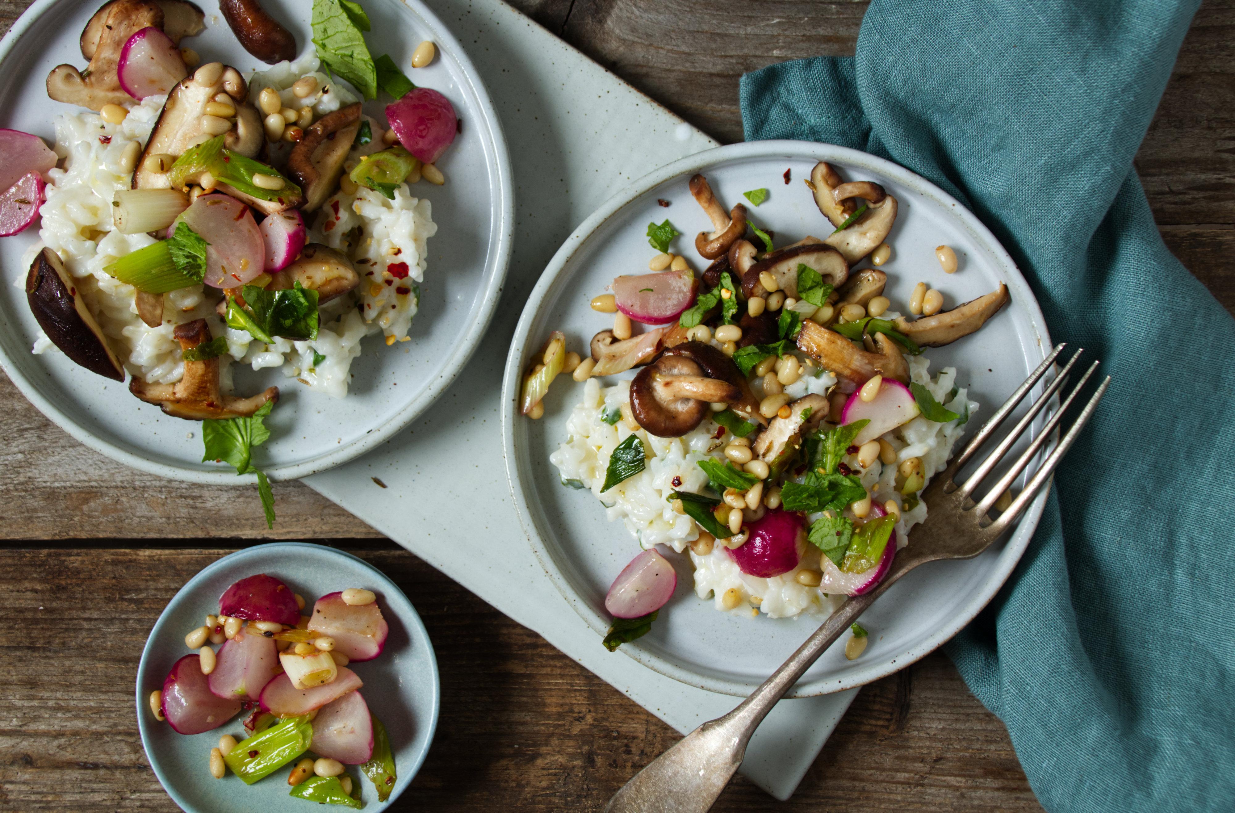 Risotto mit Radieschen-Shiitake-Gemüse