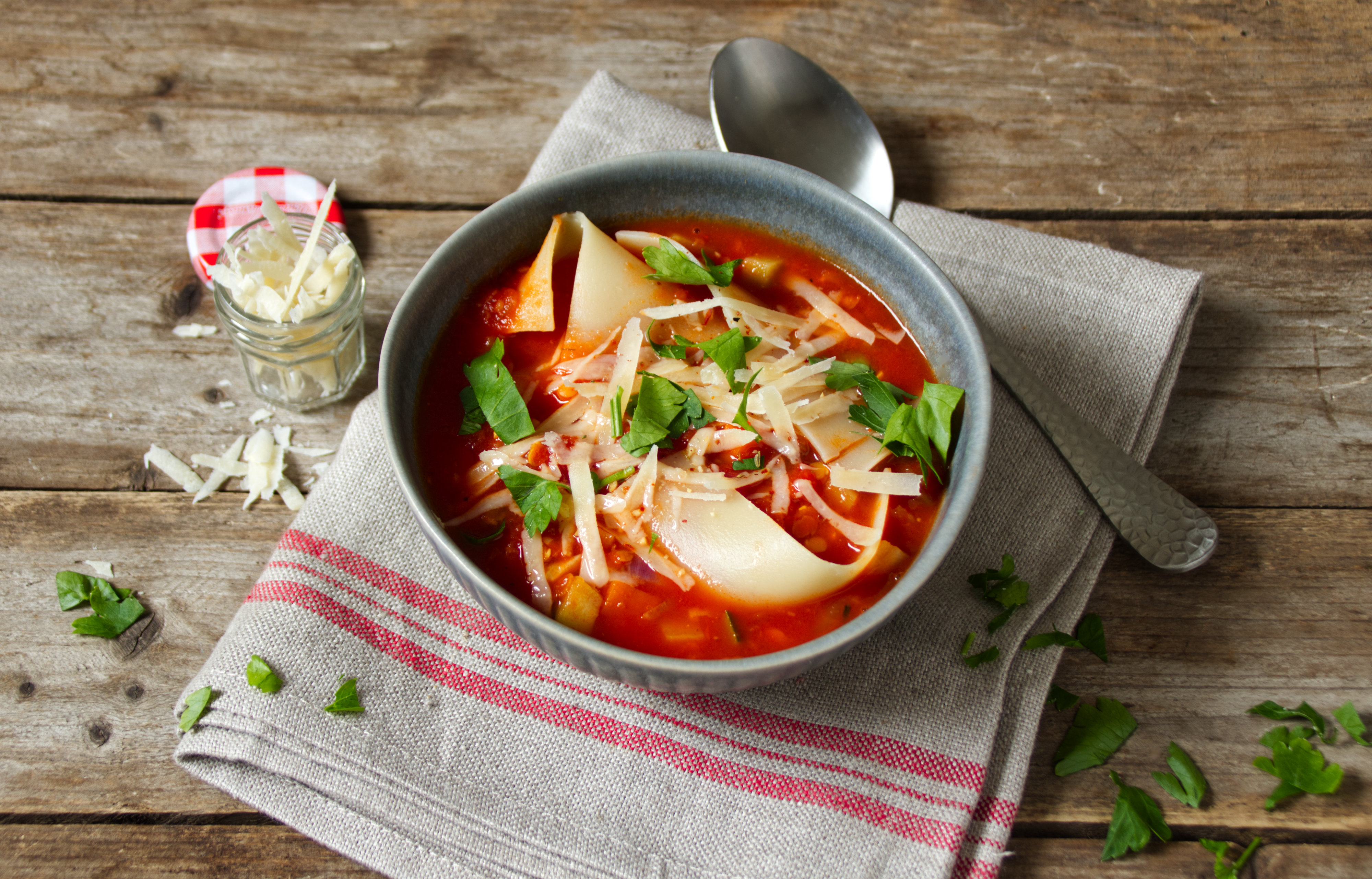 Vegetarische Lasagnesuppe
